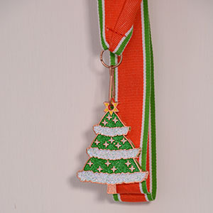 Christmas Tree Medal with Ribbon